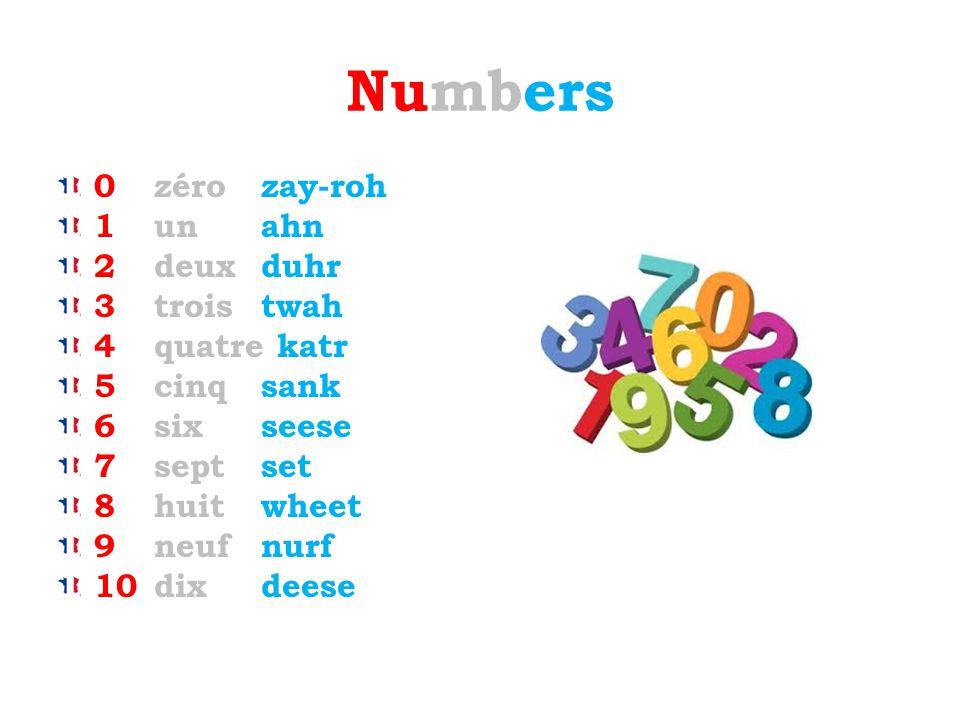 Numbers 0 zéro zay-roh 1 un ahn 2 deux duhr 3 trois twah 4 quatre katr