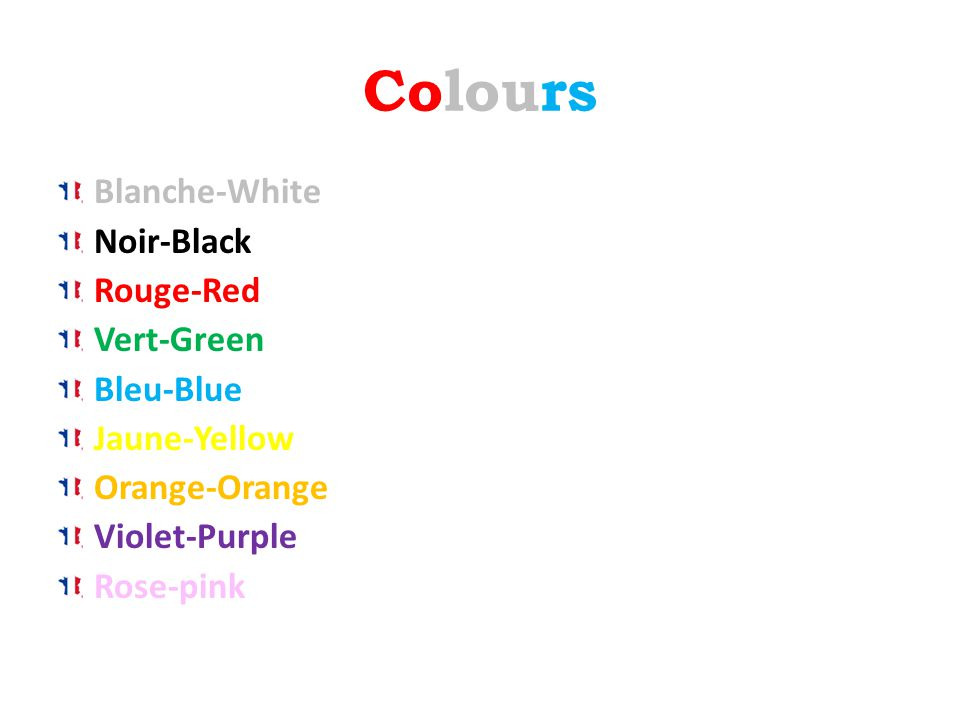 Colours Blanche-White Noir-Black Rouge-Red Vert-Green Bleu-Blue