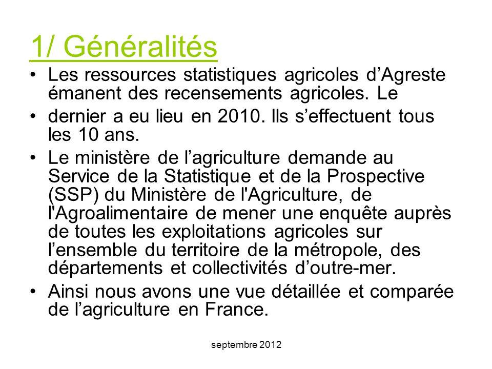 1/ Généralités Les ressources statistiques agricoles d'Agreste émanent des recensements agricoles. Le.