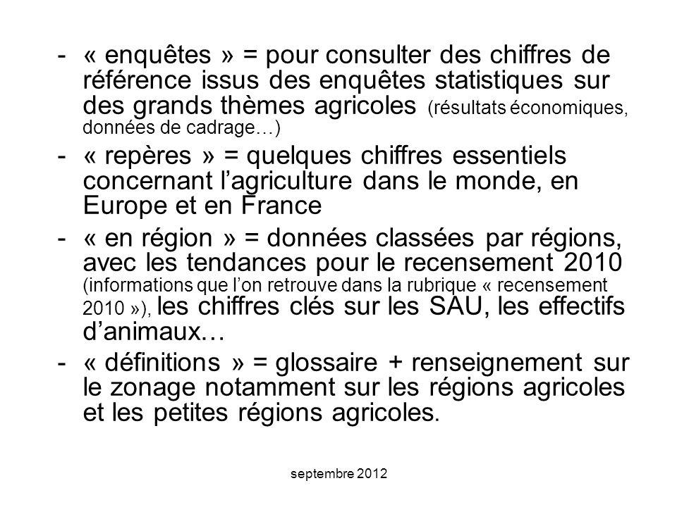 « enquêtes » = pour consulter des chiffres de référence issus des enquêtes statistiques sur des grands thèmes agricoles (résultats économiques, données de cadrage…)