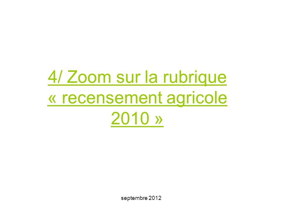 4/ Zoom sur la rubrique « recensement agricole 2010 »