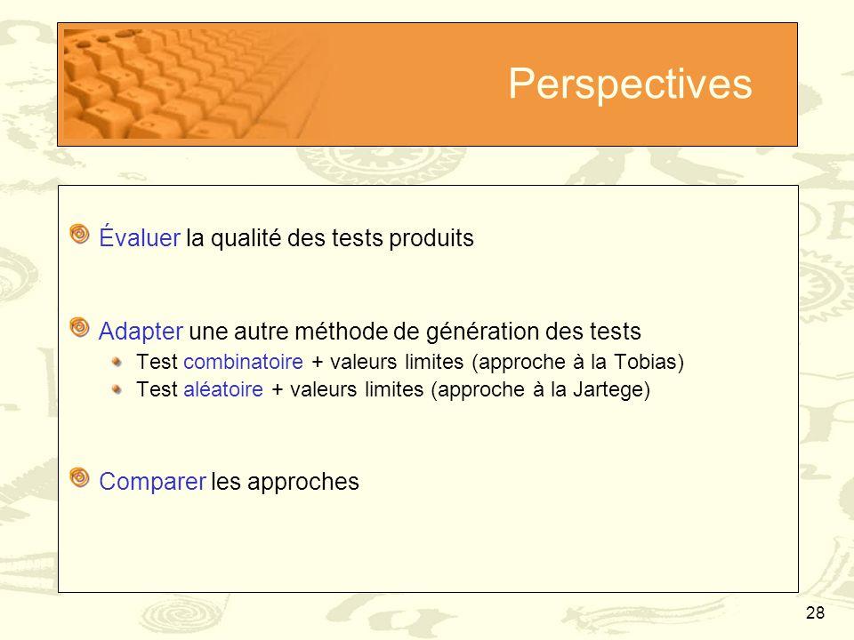 Perspectives Évaluer la qualité des tests produits