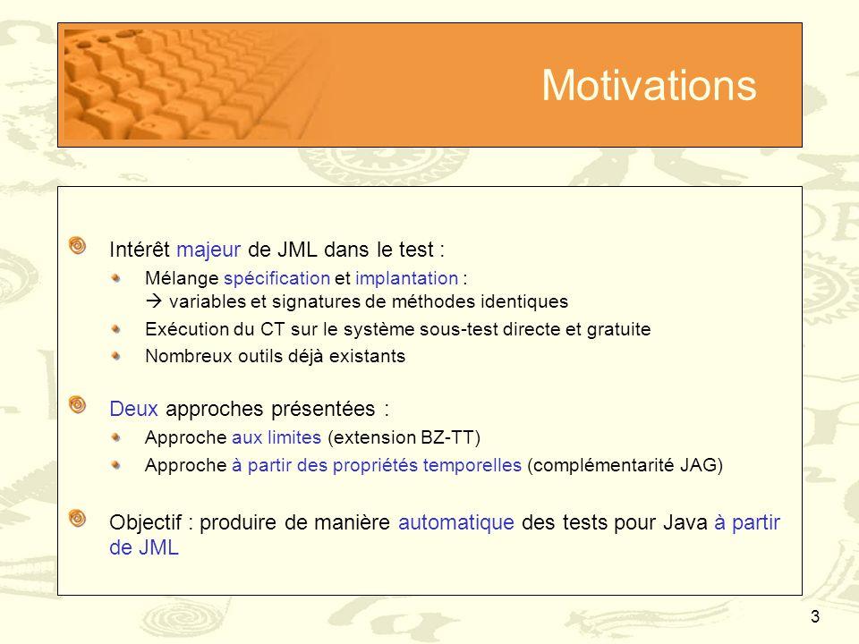 Motivations Intérêt majeur de JML dans le test :