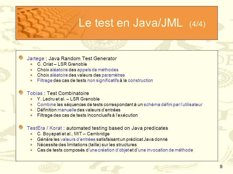 Le test en Java/JML (4/4) Jartege : Java Random Test Generator