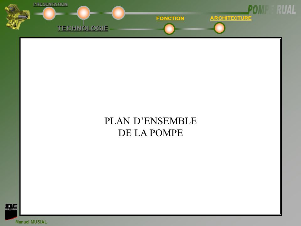 PLAN D'ENSEMBLE DE LA POMPE TECHNOLOGIE FONCTION ARCHITECTURE