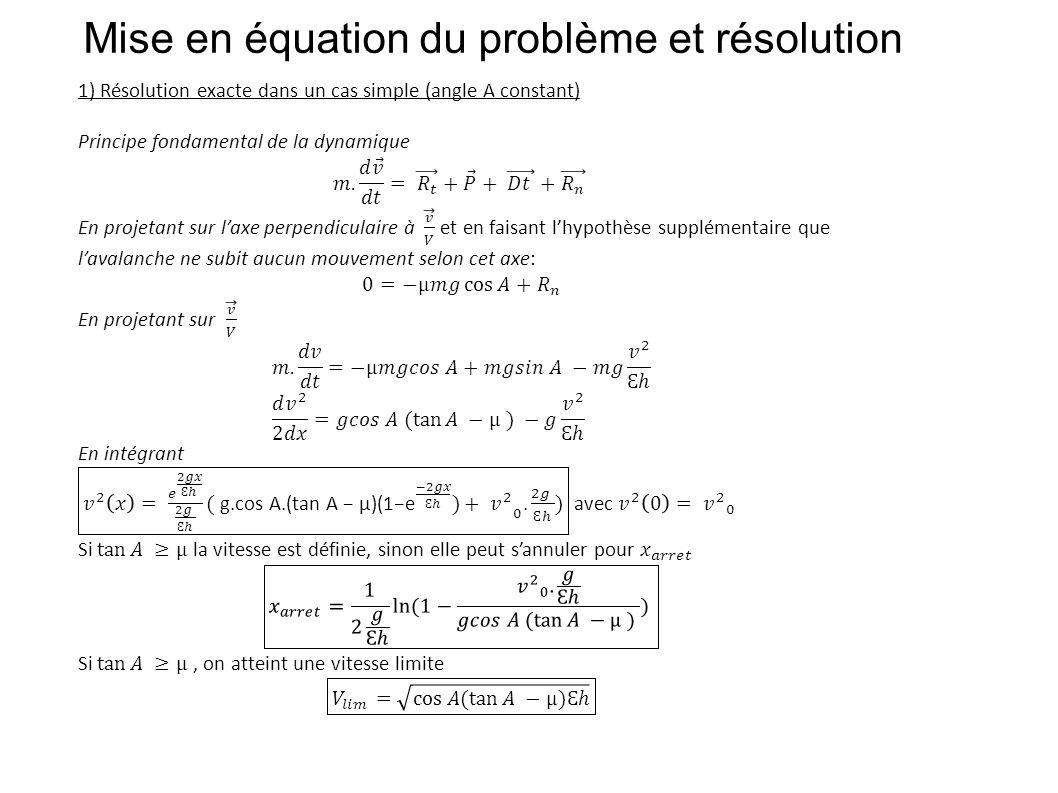 Mise en équation du problème et résolution
