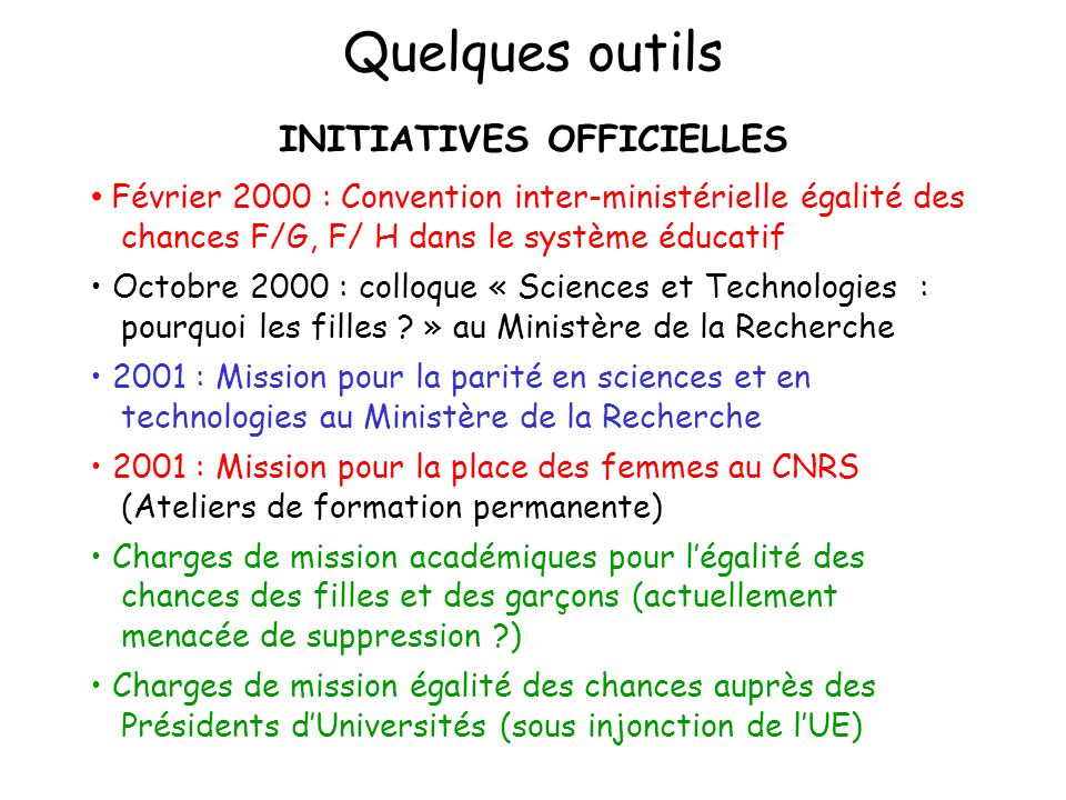 INITIATIVES OFFICIELLES