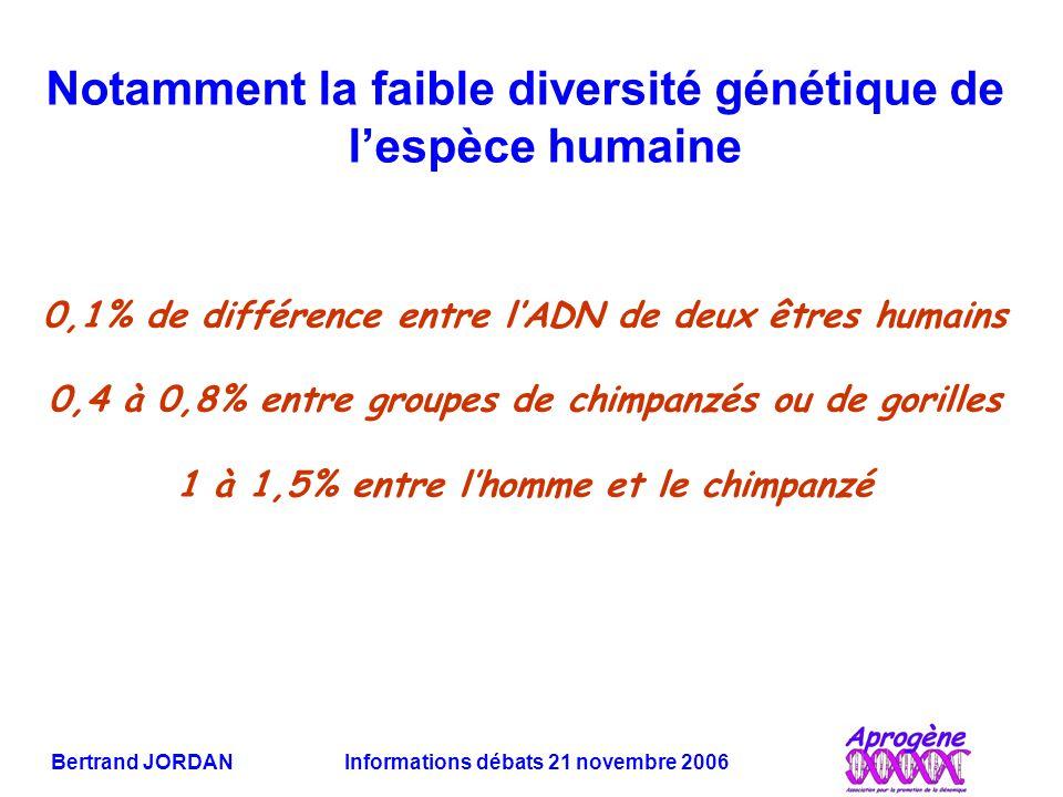 Notamment la faible diversité génétique de l'espèce humaine