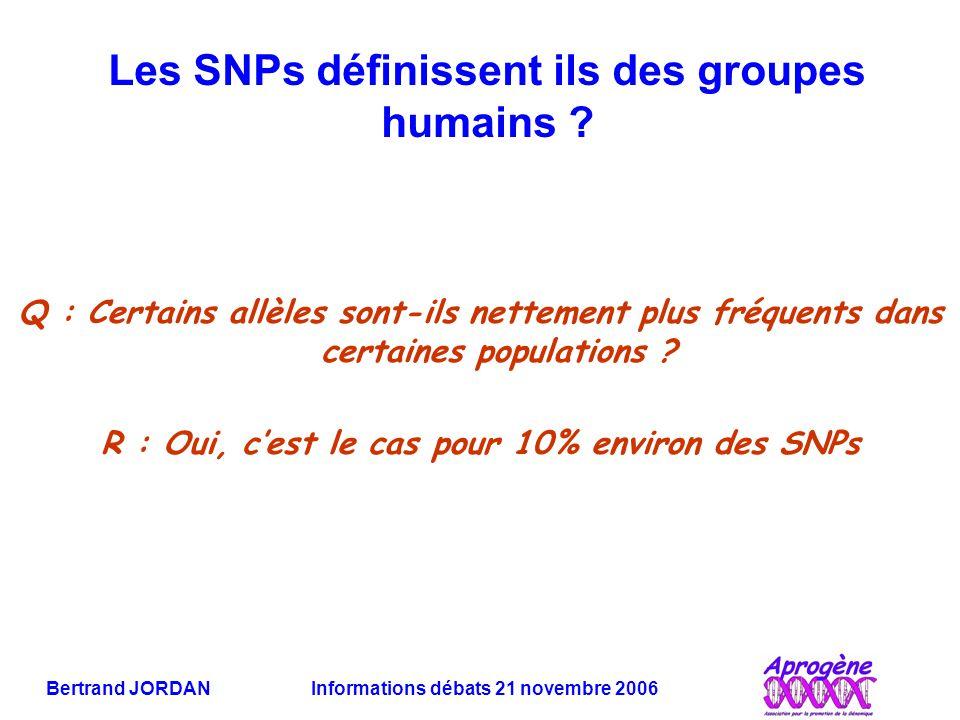 Les SNPs définissent ils des groupes humains