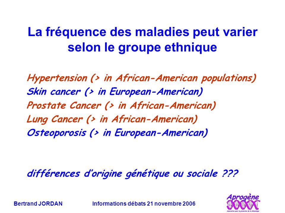 La fréquence des maladies peut varier selon le groupe ethnique