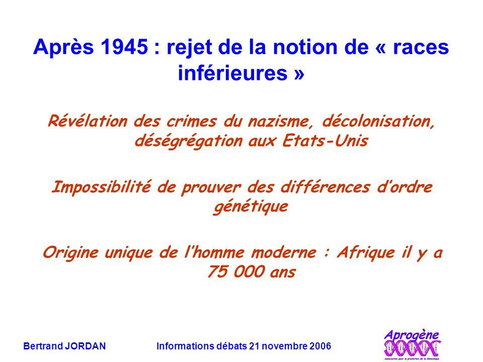Après 1945 : rejet de la notion de « races inférieures »