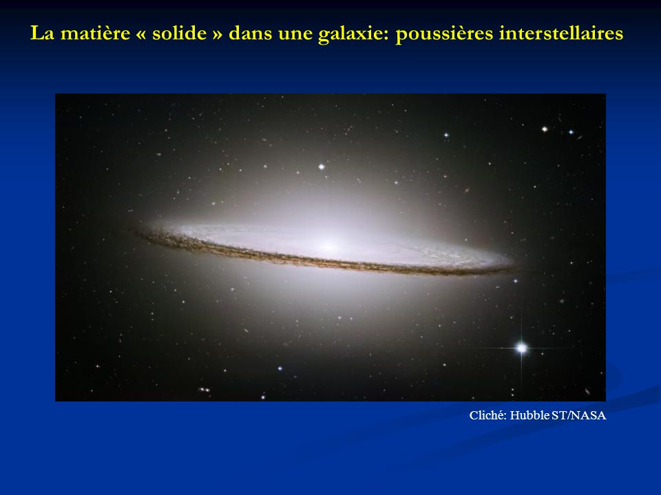 La matière « solide » dans une galaxie: poussières interstellaires
