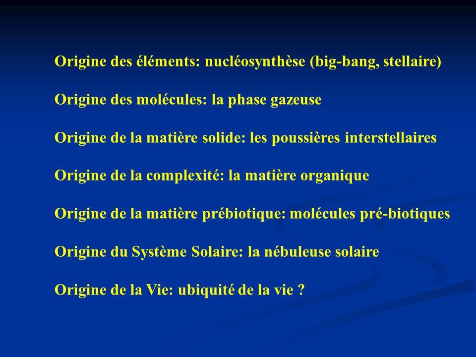Origine des éléments: nucléosynthèse (big-bang, stellaire)