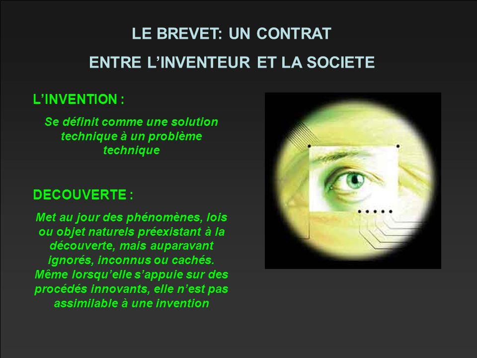 LE BREVET: UN CONTRAT ENTRE L'INVENTEUR ET LA SOCIETE