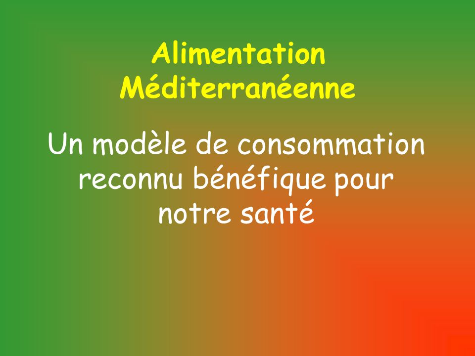 Alimentation Méditerranéenne