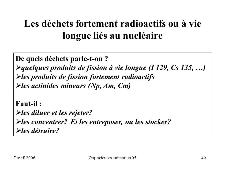 Les déchets fortement radioactifs ou à vie longue liés au nucléaire