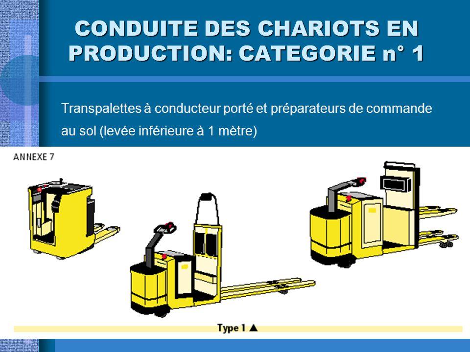 CONDUITE DES CHARIOTS EN PRODUCTION: CATEGORIE n° 1