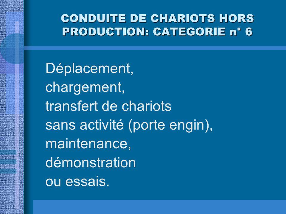 CONDUITE DE CHARIOTS HORS PRODUCTION: CATEGORIE n° 6
