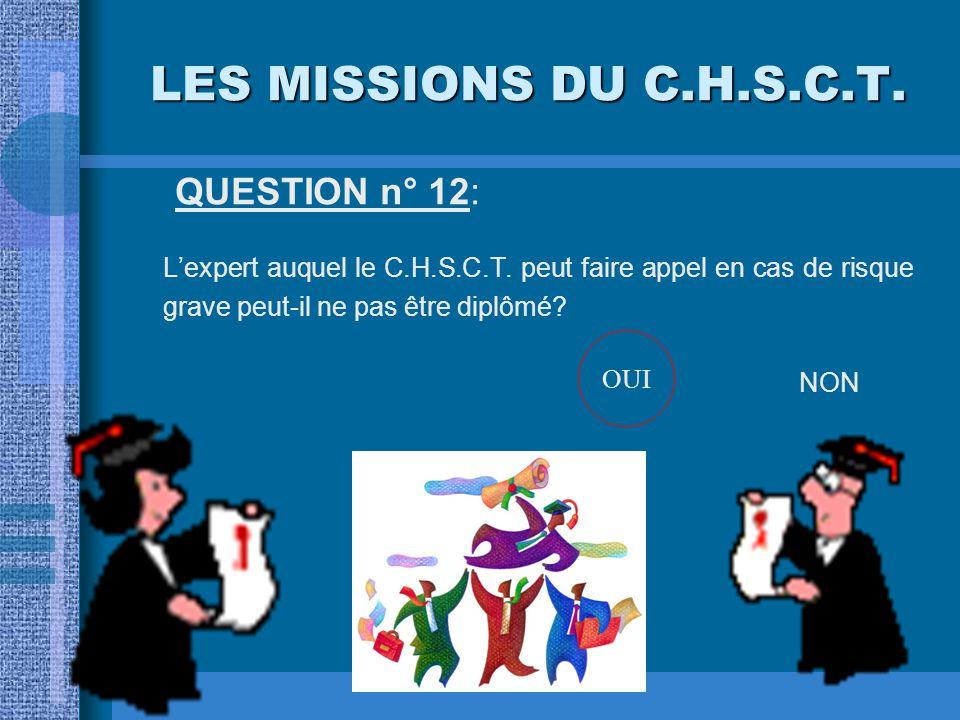 LES MISSIONS DU C.H.S.C.T. QUESTION n° 12: L'expert auquel le C.H.S.C.T. peut faire appel en cas de risque grave peut-il ne pas être diplômé