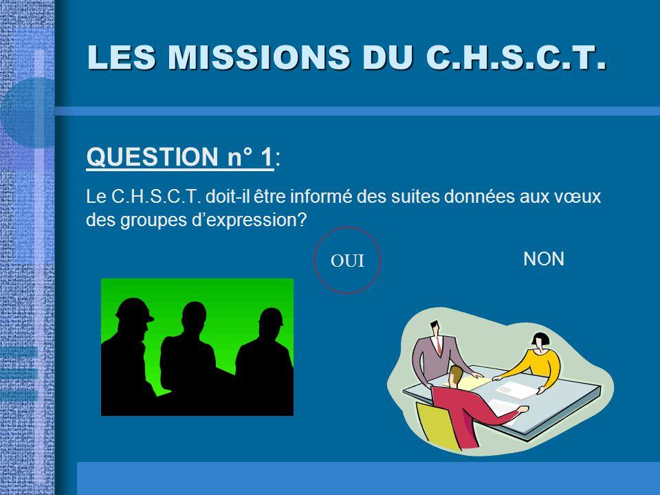 LES MISSIONS DU C.H.S.C.T. QUESTION n° 1: Le C.H.S.C.T. doit-il être informé des suites données aux vœux des groupes d'expression