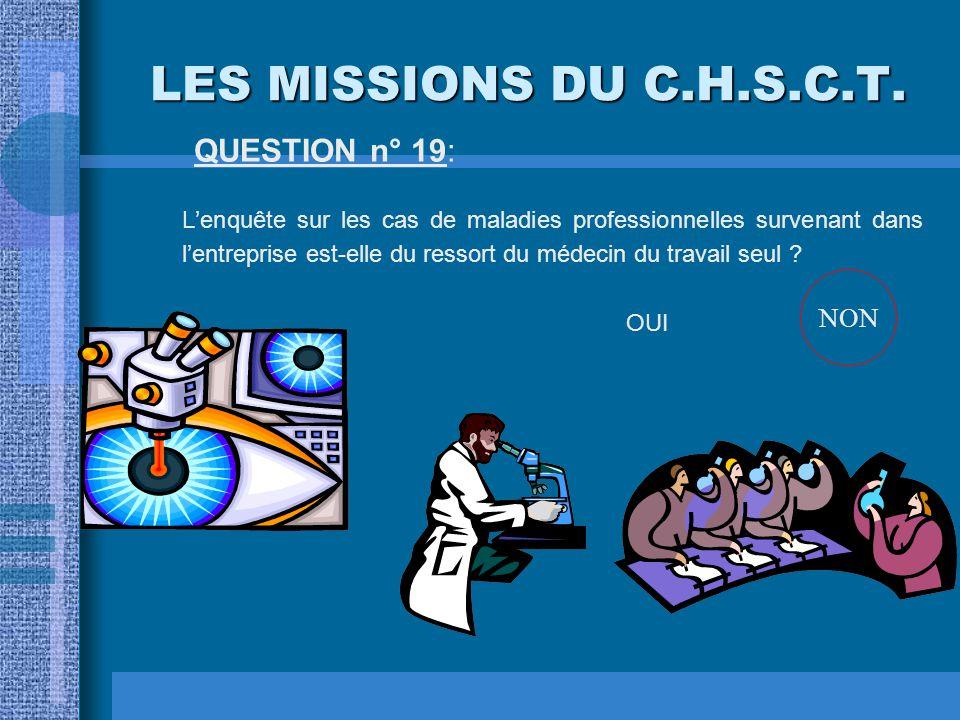 LES MISSIONS DU C.H.S.C.T. QUESTION n° 19: