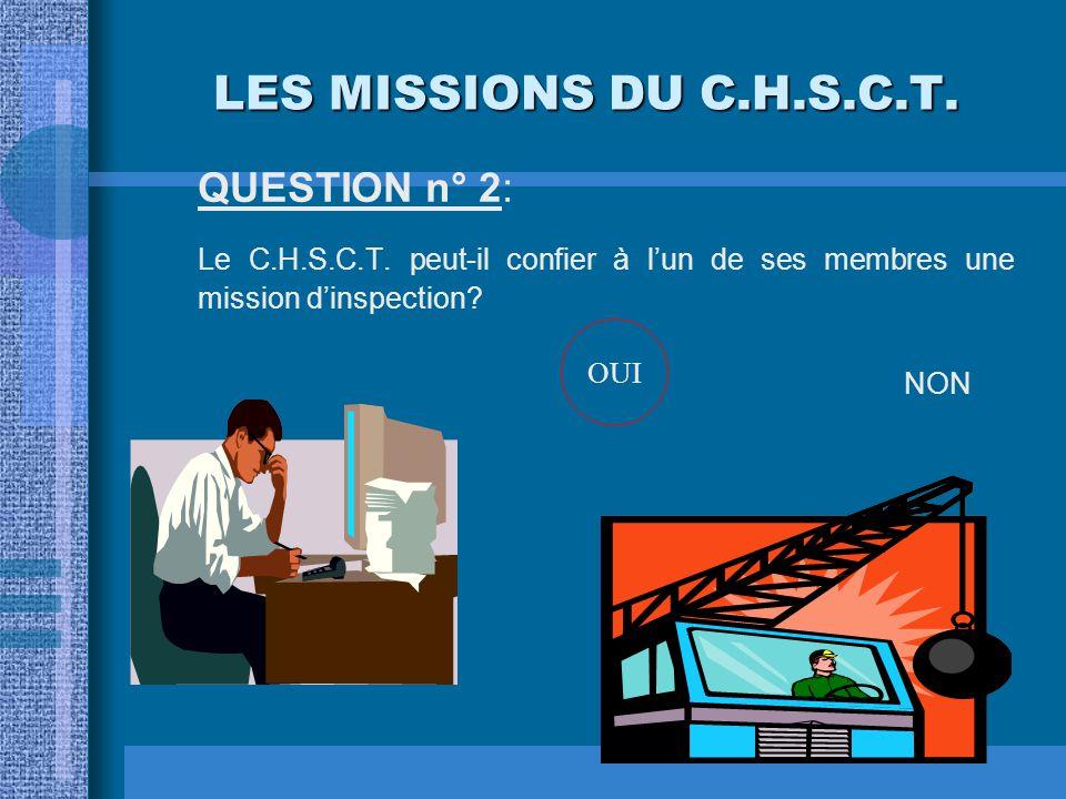 LES MISSIONS DU C.H.S.C.T. QUESTION n° 2: Le C.H.S.C.T. peut-il confier à l'un de ses membres une mission d'inspection