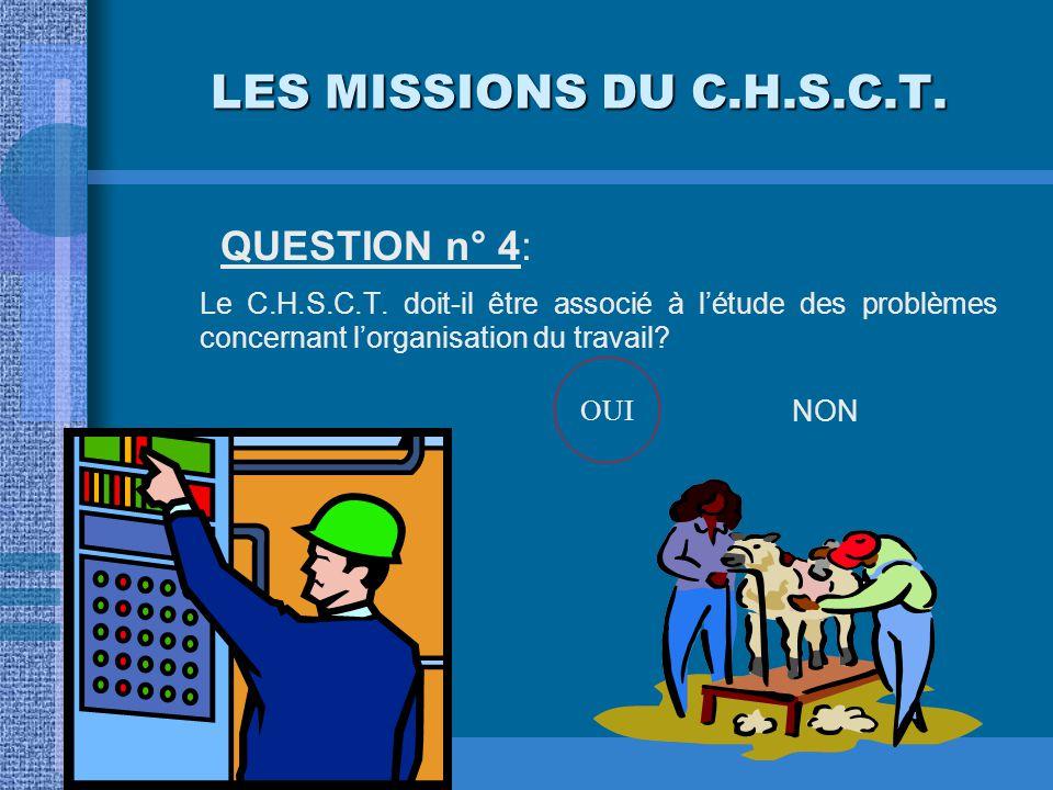 LES MISSIONS DU C.H.S.C.T. QUESTION n° 4: Le C.H.S.C.T. doit-il être associé à l'étude des problèmes concernant l'organisation du travail