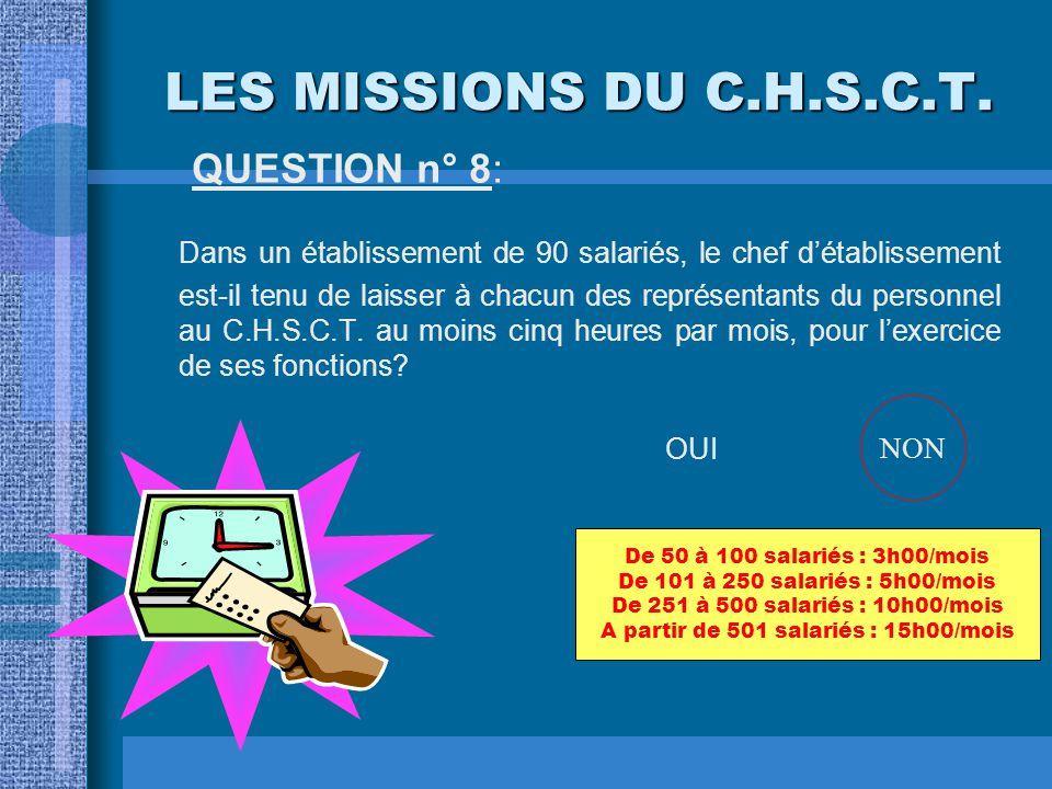 LES MISSIONS DU C.H.S.C.T. QUESTION n° 8: