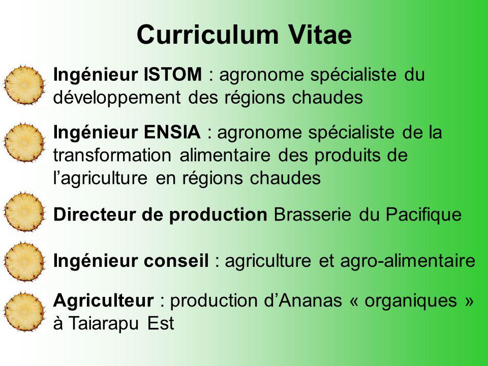 Curriculum Vitae Ingénieur ISTOM : agronome spécialiste du développement des régions chaudes.