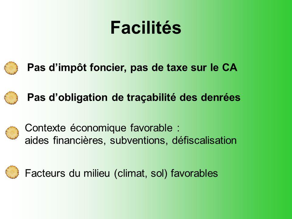 Facilités Pas d'impôt foncier, pas de taxe sur le CA