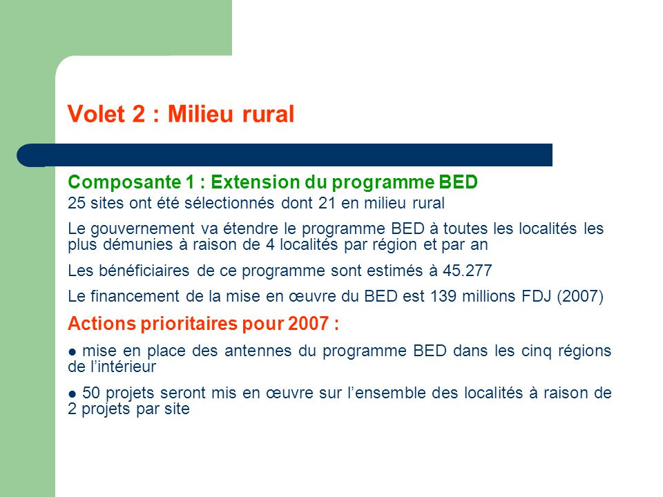 Volet 2 : Milieu rural Composante 1 : Extension du programme BED