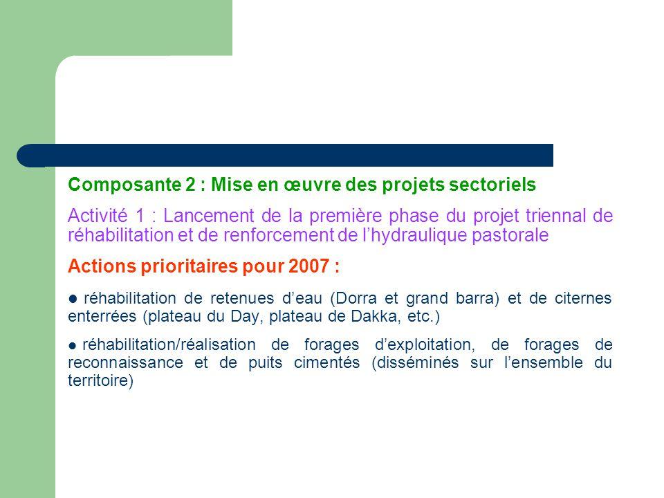 Composante 2 : Mise en œuvre des projets sectoriels