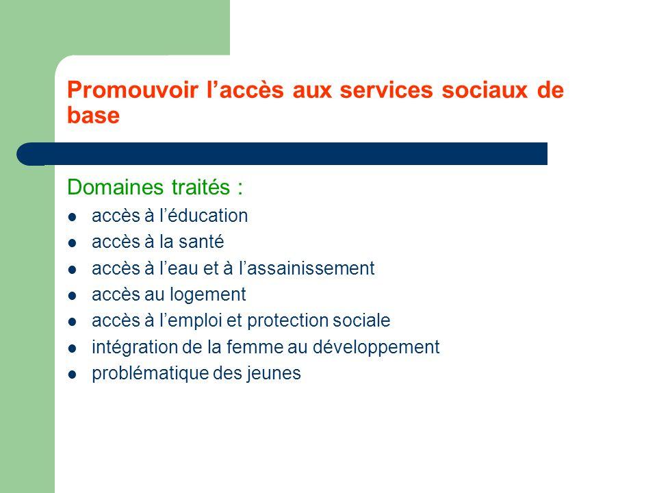 Promouvoir l'accès aux services sociaux de base