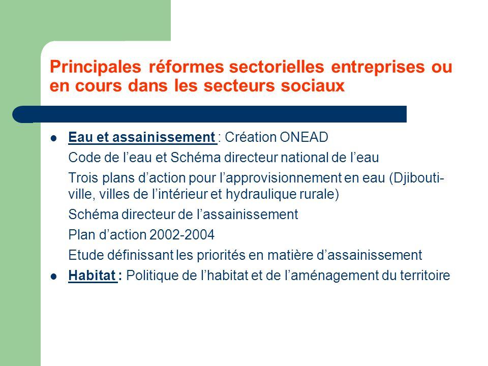 Principales réformes sectorielles entreprises ou en cours dans les secteurs sociaux