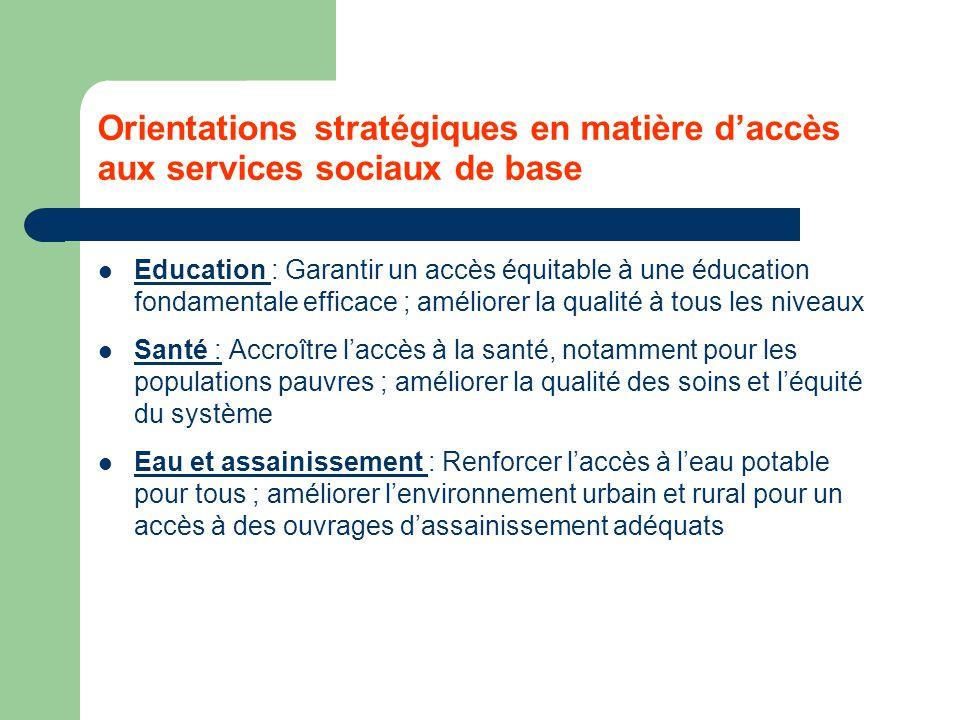 Orientations stratégiques en matière d'accès aux services sociaux de base