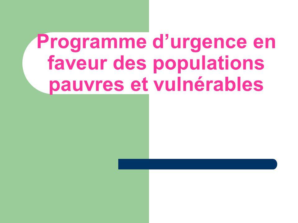 Programme d'urgence en faveur des populations pauvres et vulnérables