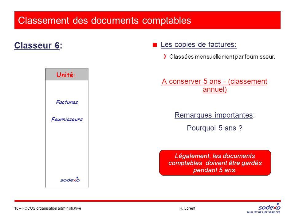 Classement des documents comptables