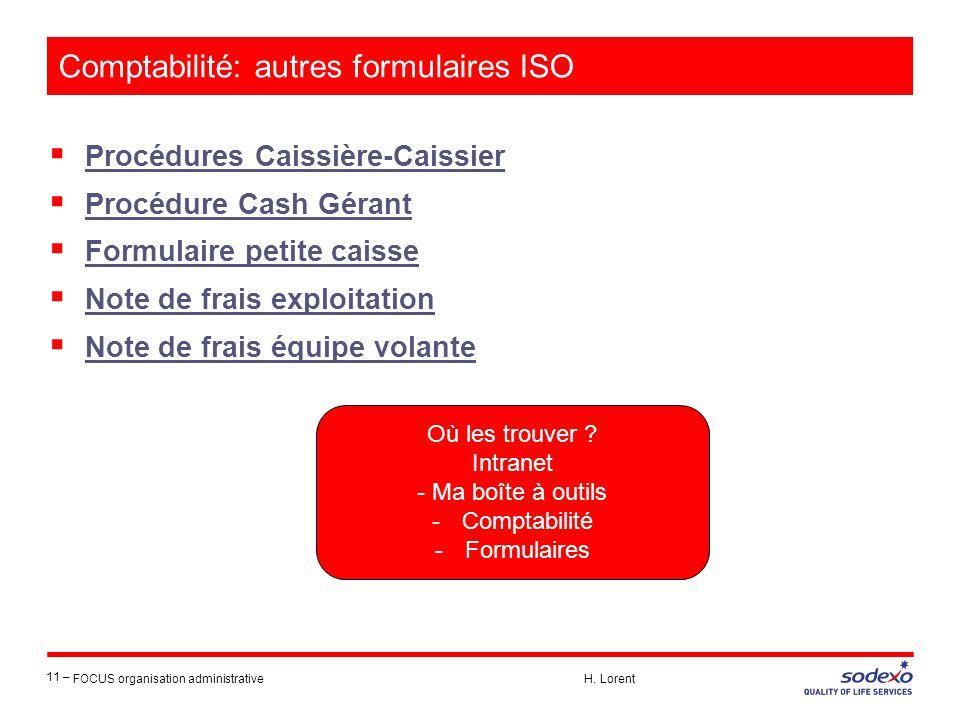 Comptabilité: autres formulaires ISO