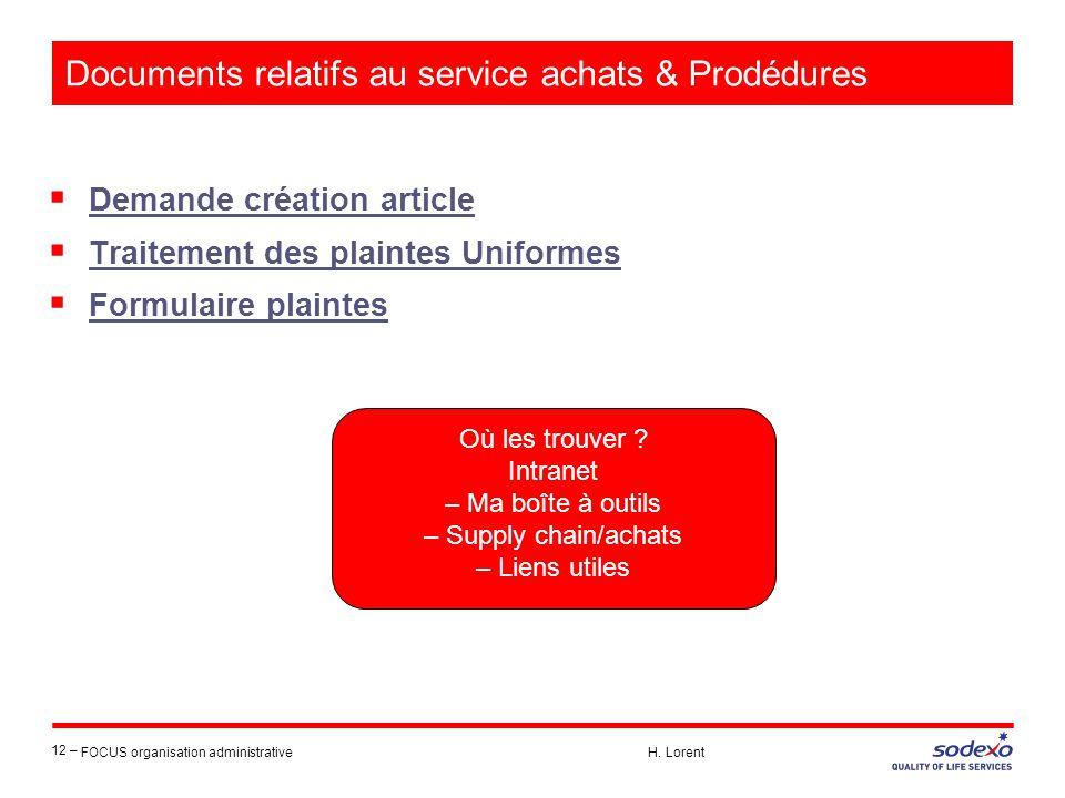 Documents relatifs au service achats & Prodédures