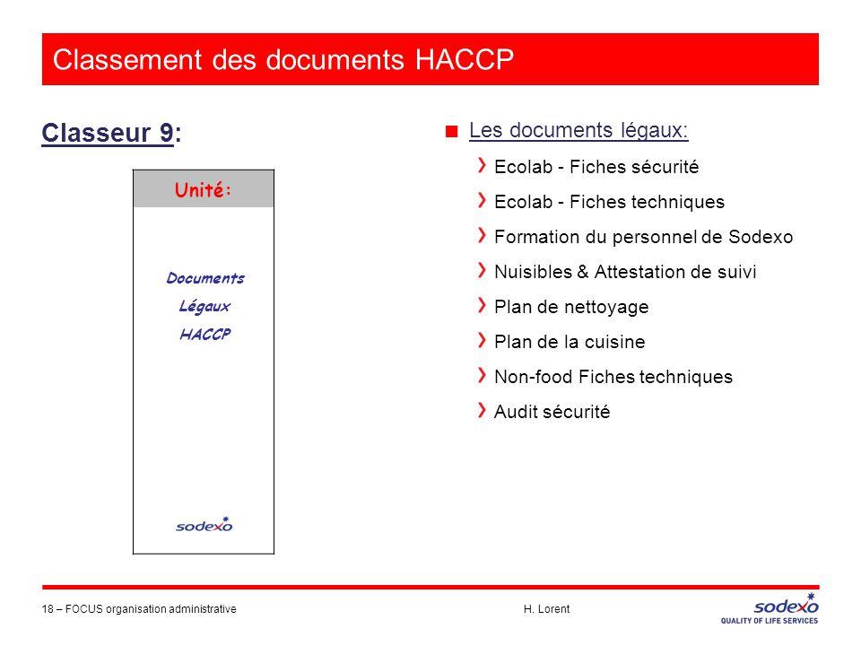 Classement des documents HACCP