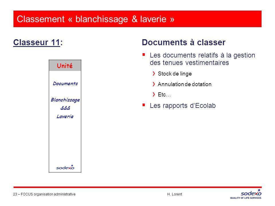Classement « blanchissage & laverie »