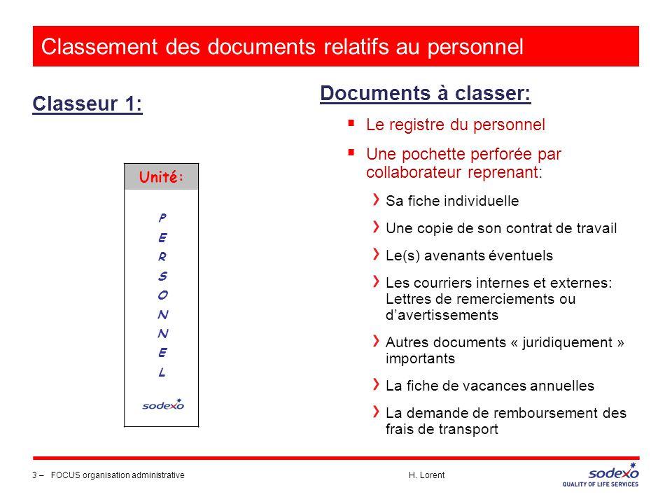 Classement des documents relatifs au personnel