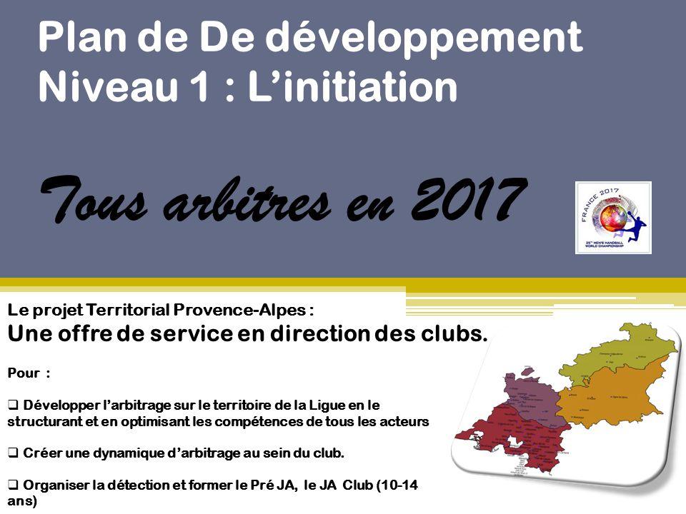 Plan de De développement Niveau 1 : L'initiation Tous arbitres en 2017