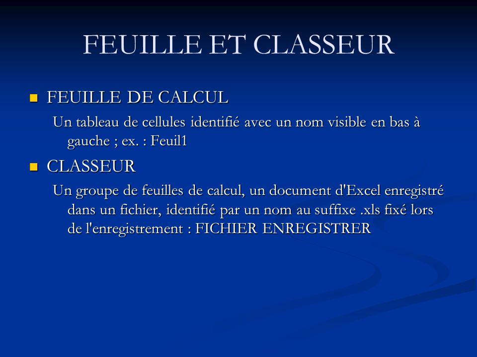 FEUILLE ET CLASSEUR FEUILLE DE CALCUL CLASSEUR