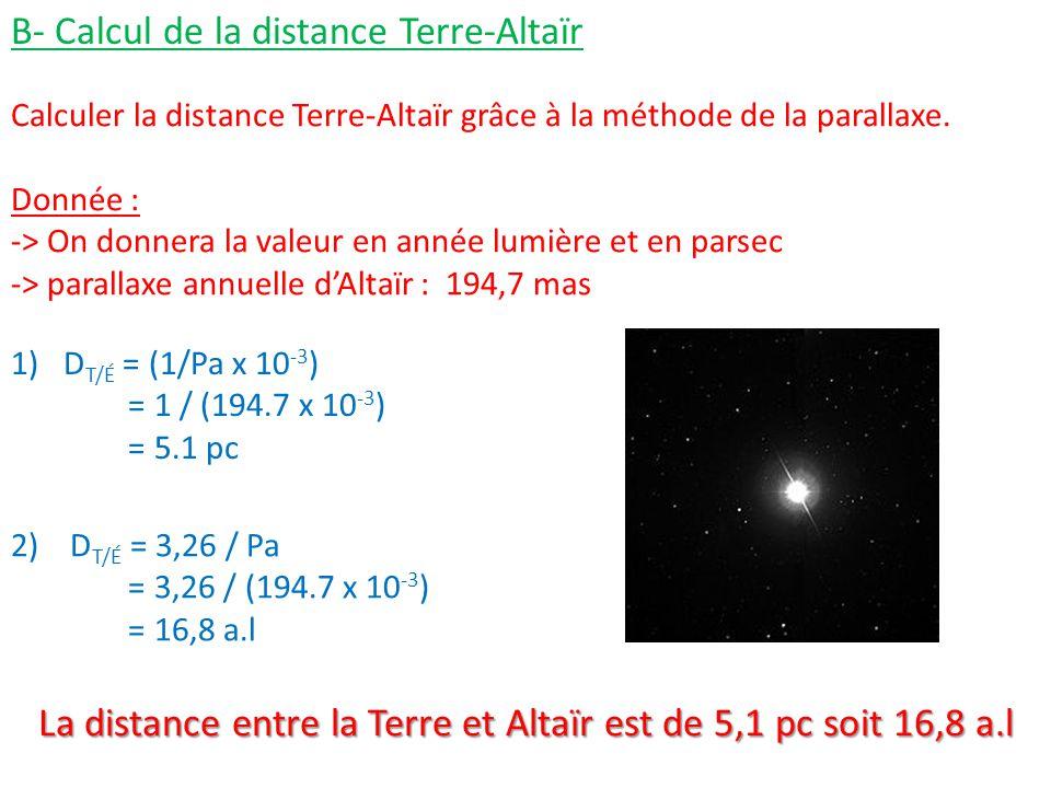 La distance entre la Terre et Altaïr est de 5,1 pc soit 16,8 a.l