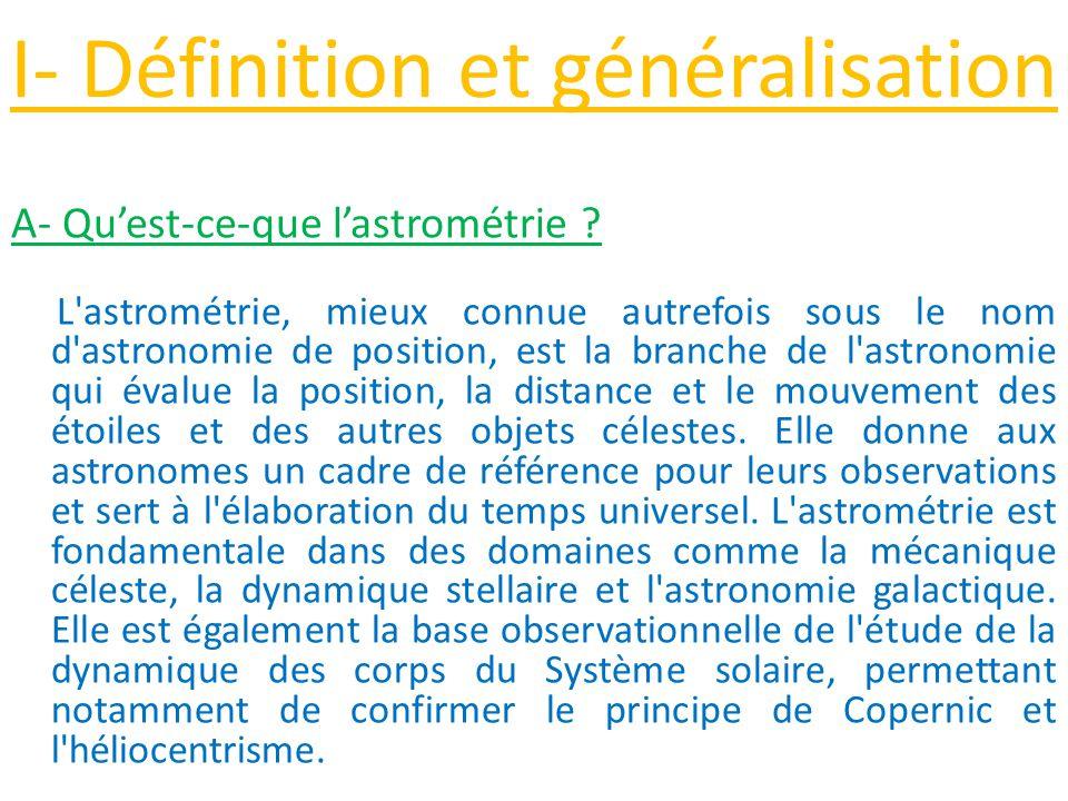I- Définition et généralisation