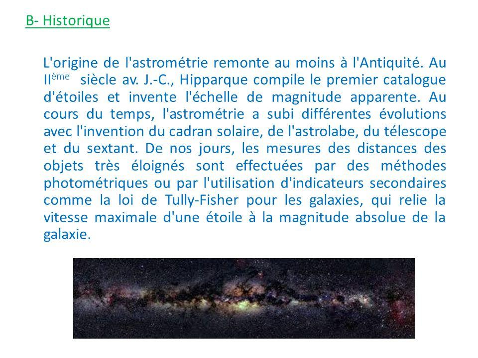 B- Historique L origine de l astrométrie remonte au moins à l Antiquité.