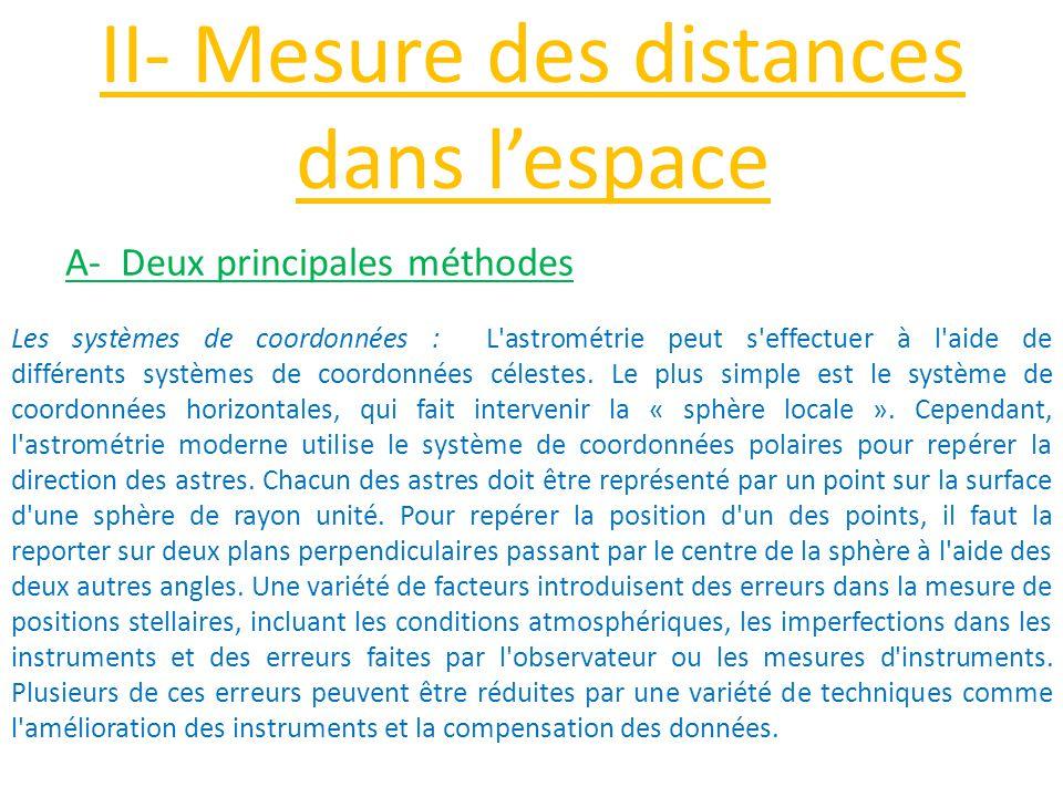 II- Mesure des distances dans l'espace