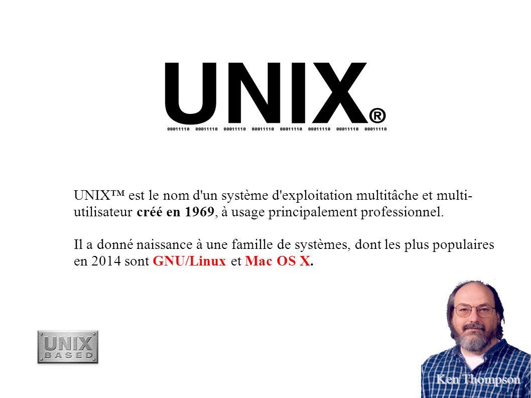 UNIX™ est le nom d un système d exploitation multitâche et multi-utilisateur créé en 1969, à usage principalement professionnel.