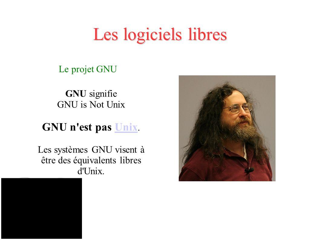 Les systèmes GNU visent à être des équivalents libres d Unix.